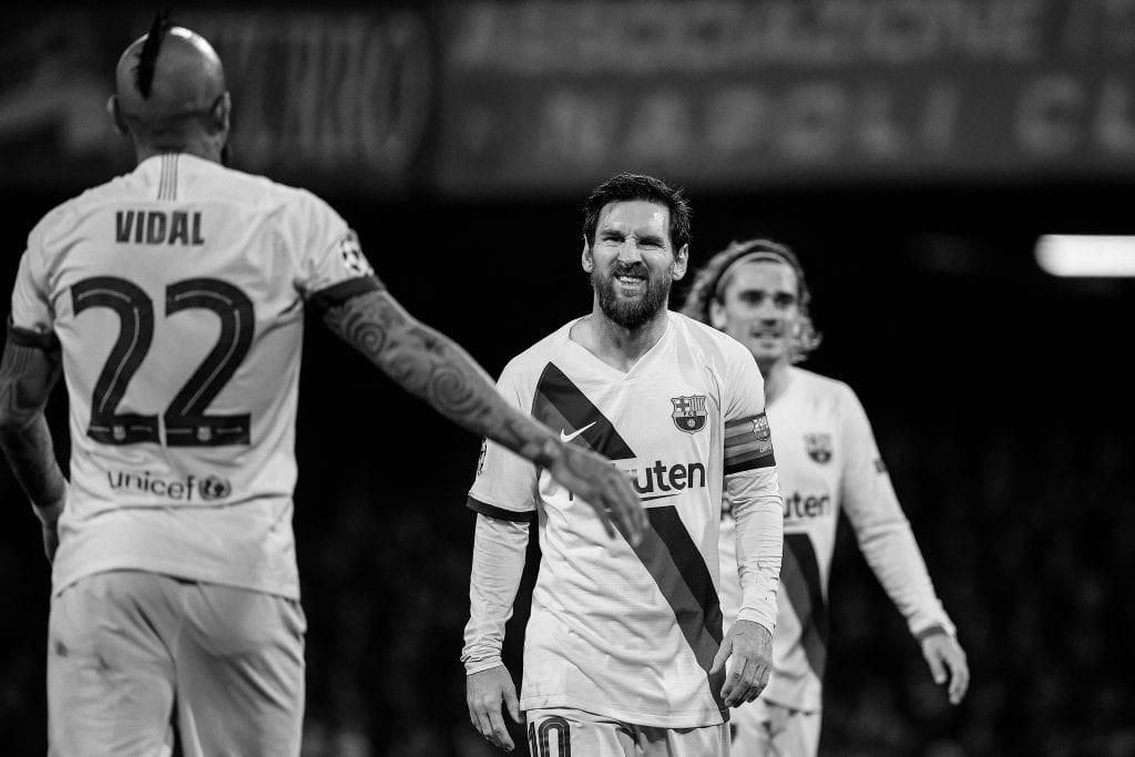Lionel Messi Arturo Vidal Quique Setién Barça Napoli Champions League