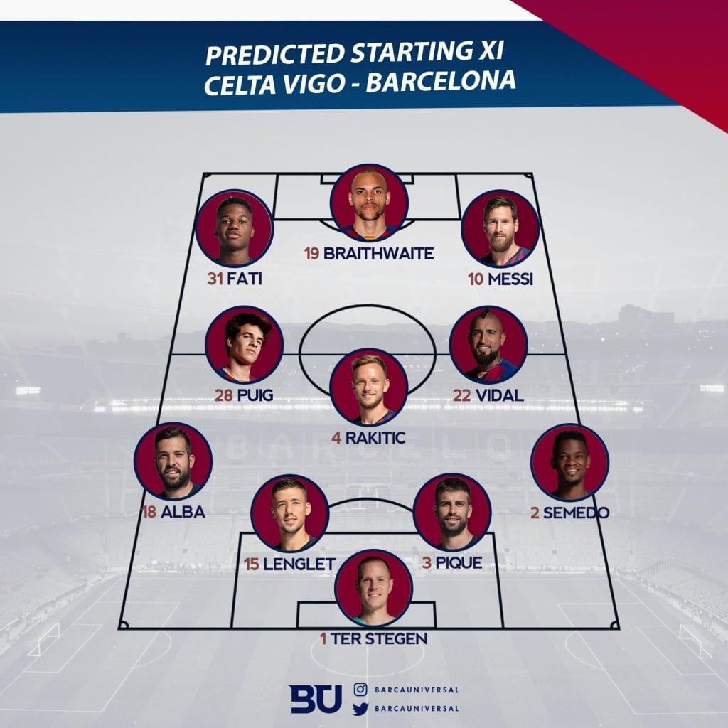 Barcelona possible XI Celta Vigo