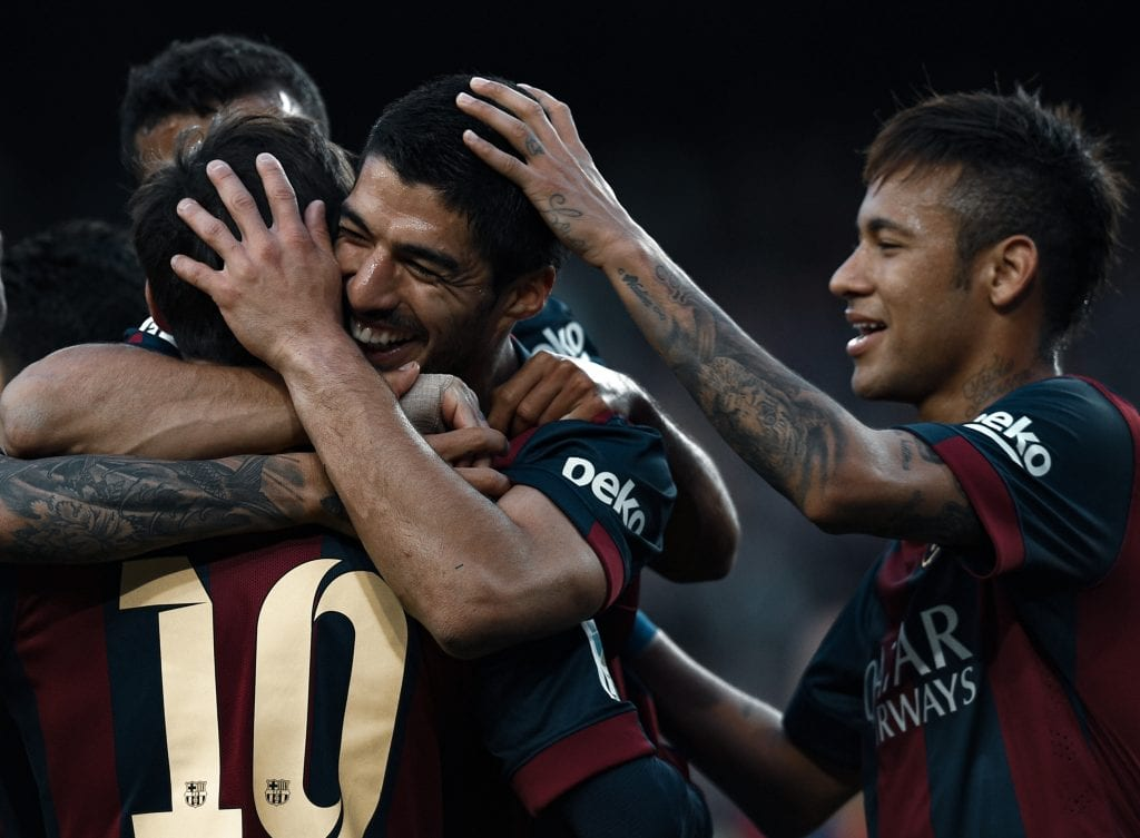 Lionel Messi Luis Suárez Neymar Júnior MSN Barça 2015 treble
