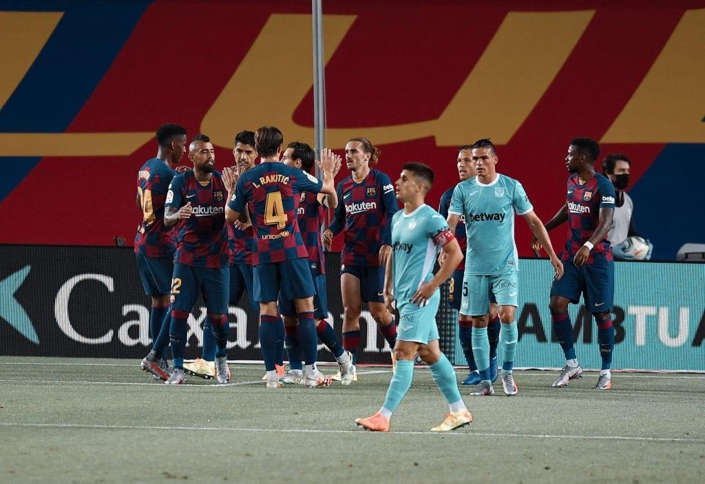 Iván Rakitić Arturo Vidal Antoine Griezmann Lionel Messi Barcelona Leganés takes