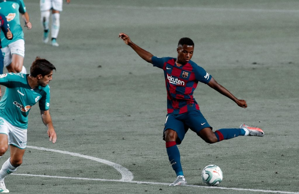 Ansu Fati Barcelona low block
