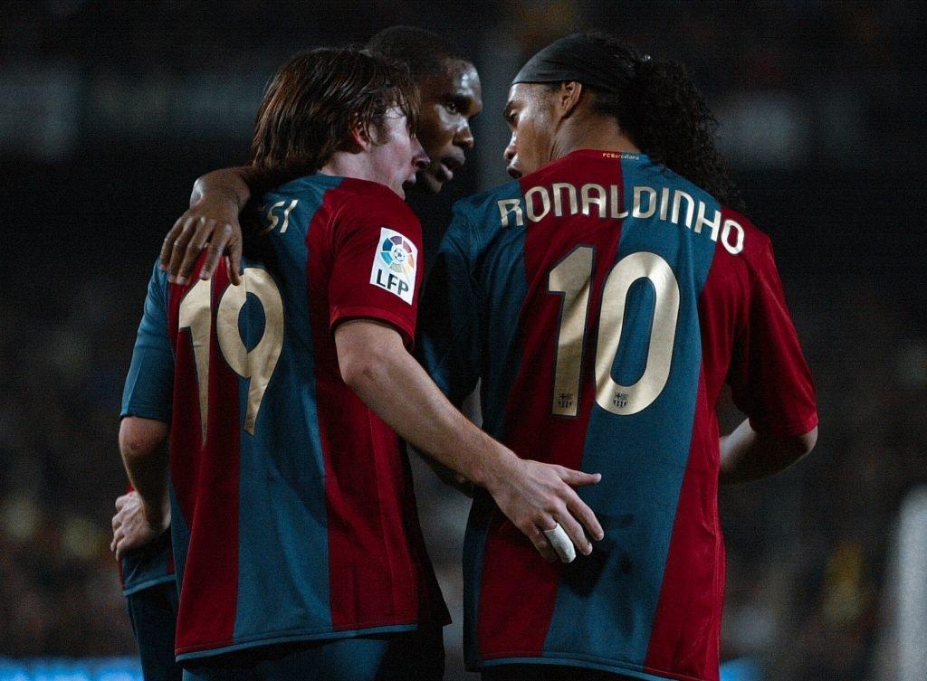 Lionel Messi Samuel Eto'o Ronaldinho Barcelona retire number 10