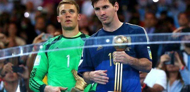 Messi recibe el Balón de Oro del Mundial de Brasil